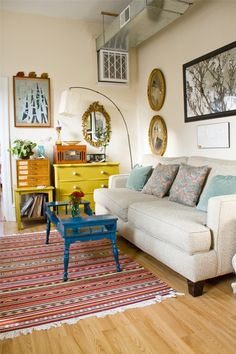 painted furniture, white walls