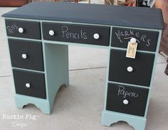 Thinking of painting DD's desk with chalkboard paint - love that the drawers could be labeled.  :)  (The Rustic Pig: Chalkboard Desk)