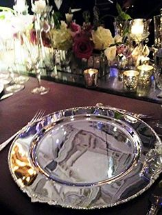 """AmazonSmile: 13"""" Baroque Silver Charger Plate (4): Kitchen & Dining"""