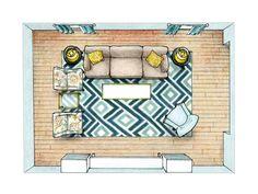 Possible furniture arrangement for media wall?