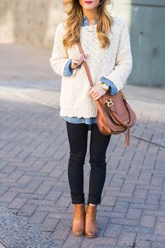 Oversized Sweater Chambray Shirt - Dark Shirt - Ideas of Dark Shirt - white sweater chambray shirt skinny jeans booties crossbody bag Winter Outfits For Teen Girls, Preppy Winter Outfits, Warm Outfits, Casual Winter, Winter Wear, Autumn Winter Fashion, Winter Sweater Outfits, Chambray Shirt Outfits, Maroon Shirt Outfit