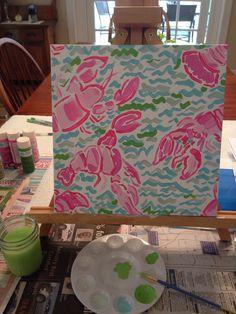 Lobstah Roll // Lilly Pulitzer inspired canvas painting.... I think I'm going to start this one tonight