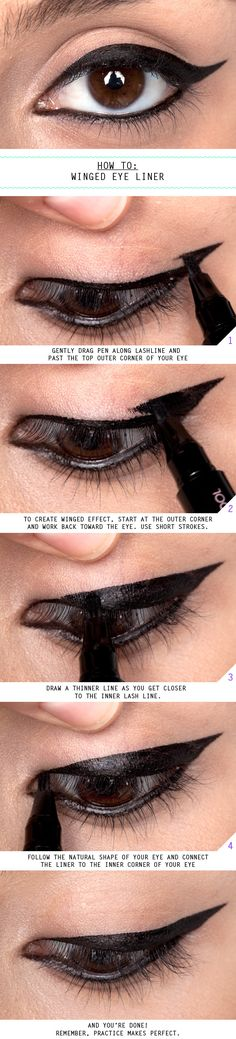 #HowTo: #Winged #EyeLiner - For more #beauty #looks, MyBeautyCompare Pinterest #Tutorial #Cat #smokey #Seductive #date #look #Color #Eyeshadow #Ideas #Inspiration #Eyes #Makeup #Bbloggers