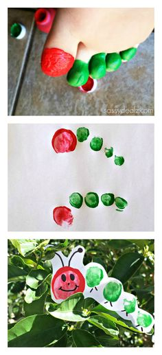 "Caterpillar Toe Print Craft for Kids. goes well with ""foot butterflies"", yes? :) @Amanda Snelson Lynn"