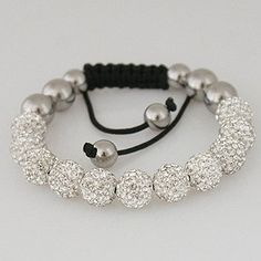 Snow White Shamballa Bracelet   Adjustable The Smallest is a size 6 the Largest is a size 12  Macrame cord  Swarovski crystal balls and silver balls  Some Jewelers sells Shamballa Bracelets for alot $  Why pay alot$  We have High Quality Shamballa bracelet are at glammy girls