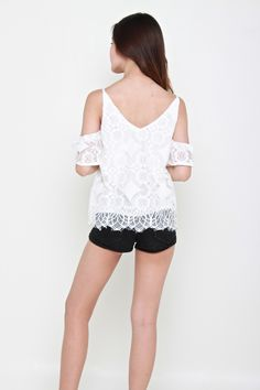 EVETTE LACE TOP - WHITE – Bella Blizz Lace Overlay, White Lace, Lace Shorts, Slip On, Rompers, Chic, Sleeves, Model, Romper