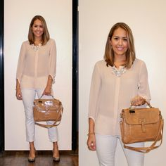 Chic summer style: Blush blouse, white skinny ankle pant, statement necklace