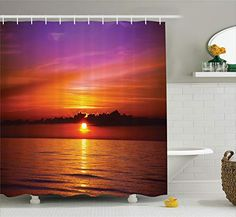 Ambesonne Ocean Shower Curtain, Romantic Sunset on The Beach Sun Rays Reflection on the Sea Colorful Sky Picture, Cloth Fabric Bathroom Decor Set with Hooks, 70 Inches, Orange Purple Ocean Shower Curtain, Shower Curtain Sets, Bathroom Shower Curtains, Ocean Bathroom Themes, Beach Bathrooms, Bathroom Ideas, Orange Door, Orange And Purple, Romantic