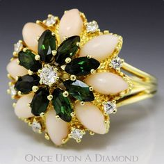 Estate 3.00ctw Marquise Coral, Green Tourmaline & Diamond Cluster Ring 14K Gold