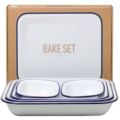 Falcon since 1920 Bake Set A five-piece enamelware bake set. 1 x bake pan 1 x bake pan 1 x bake pan 2 x pie dishes Dishwasher-safe and oven-safe up to / it can also be used on gas and electric hobs. Falcon Enamelware, Wedding Gift List, Space Saving Kitchen, Outdoor Gifts, Baking Set, Luxury Towels, Human Hair Lace Wigs, Anniversary Gifts For Him, Donate To Charity