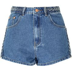 Mid Blue Plait Detail Denim Shorts (€29) ❤ liked on Polyvore featuring shorts, bottoms, pants, blue, blue jean shorts, summer jean shorts, jean shorts, blue denim shorts and summer shorts