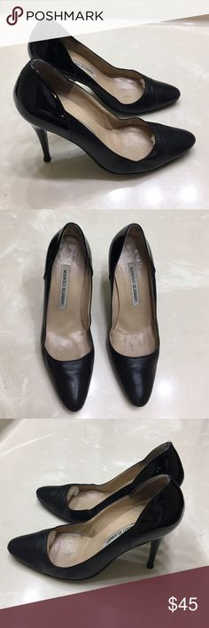 """Auth Manolo Blahnik black leather heels 36.5 6 Authentic Manolo Blahnik black leather heels 36.5 6 good condition light creasing in leather a few light scuffs and insoles have light marks 4"""" heels Manolo Blahnik Shoes Heels"""