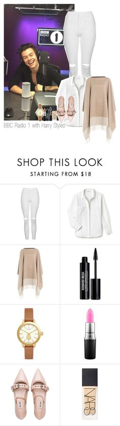 """BBC Radio 1 with Harry Styles"" by isantrp ❤ liked on Polyvore featuring Topshop, Lacoste, Agnona, Edward Bess, Tory Burch, Miu Miu, NARS Cosmetics, OneDirection, harrystyles and Directioners"