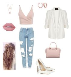 """Jeanslook"" by margherita-liparoto ❤ liked on Polyvore featuring Topshop, River Island, Jimmy Choo, Michael Kors, Lime Crime and Bling Jewelry"