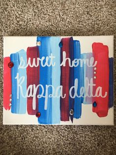 Sweet Home Kappa Delta Sorority Canvas Customizable $15