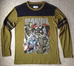 MARVEL COMIC CHARACTER LONG-SLEEVE Hulk Thor Captain America DARK BROWNISH GREEN #Marvel #EmbellishedTee