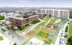 Nowy kampus UW na Ochocie projektu APA Kuryłowicz University Architecture, Education Architecture, Green Architecture, School Architecture, Landscape Architecture, Landscape Design, Architecture Design, School Building Design, School Design