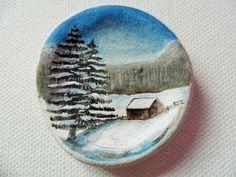 Winter hideaway- Acrylic miniature painting on English sea slate sea glass by ShePaintsSeaglass on Etsy