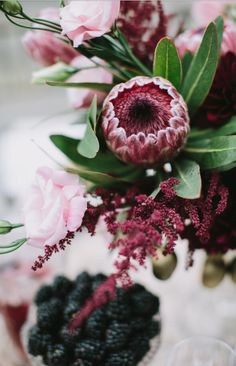 Wedding Flower Bouquets Like Succulents? Then You'll Love The Latest Wedding Flower Craze - You saw it here first. The next hot wedding flower trend is to use giant king proteas in your wedding day arrangements. It's really no wonde Protea Wedding, Fall Wedding Bouquets, Fall Wedding Flowers, Wedding Flower Arrangements, Floral Wedding, Floral Arrangement, Autumn Wedding, Wedding Dresses, Wedding Colors