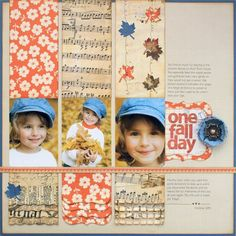 versatile layout. Change the paper to suit the season. You could add journaling above each picture. Would be a great layout for documenting changes over time ex. grade 1, grade 2...