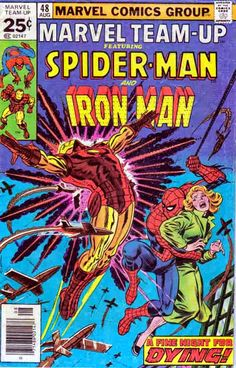 Marvel Team Up #48 Aug '76 John Romita Cover. Bill Mantlo Story. Pencils by Sal Buscema While swinging past a Stark Industries building, Spider-Man is knocked away by an explosion and is saved by Iron Man. They are confronted by police detective Jean DeWolff, who has been investigating a series of bombings involving notes that are the same as the one Iron Man got warning him of the bomb.
