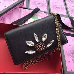 Gucci Leather Mini Chain Bag with Double G and Crystals 499782 Black 2018 ] : Real Bag Sale Gucci Handbags Sale, Gucci Bags, Gucci Mini Bag, Gucci 2018, Double G, Designer Bags For Less, Bag Sale, Purse Wallet, Crossbody Bag
