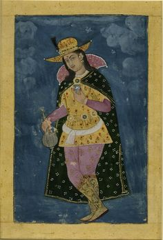 Female Youth in European clothing at night with metal flask of wine and blue and white cup. inscription in Persian. Deccan, India 18th C.