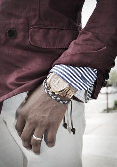 Blazer, button front shirt, leather bracelet