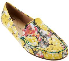 Spring in your step. A lively floral print gives these Isaac Mizrahi moccasins a fun punch of color that is sure to get you noticed. Page 1 QVC.com