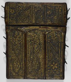 The manuscript's original, custom-made case, made of wood covered in leather; from Pierre Sala, Petit Livre d'Amour, France (Paris and Lyon), c. 1500, Stowe MS 955..