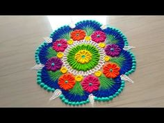 Innovative and creative multicolored rangoli designs for FESTIVAL'S Diwali/Deepawali by jyoti Rathod Indian Rangoli Designs, Small Rangoli Design, Colorful Rangoli Designs, Rangoli Designs Images, Beautiful Rangoli Designs, Rangoli Colours, Rangoli Patterns, Rangoli Ideas, Diwali Diy