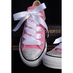 Customised Pink Converse All Star with Swarovski C ($114.7)