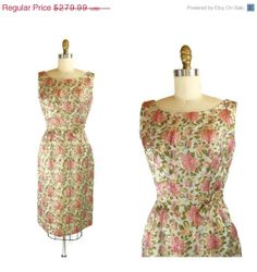 HOLIDAY SALE 50s Dress / 1950s Dress FLORAL Brocade Bombshell Hourglass Dress / 50s Sheath Tulip Dress / Metallurgy Dress