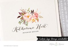 Premade logo design watercolor floral photography logo boutique florist beauty spa branding