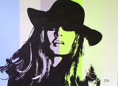 Brigitte Bardot II, mid century movie star portrait,  Acrylic Poster Style, contemporary  wall decor, original painting  by Milena Gawlik