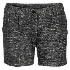 Soaked in Luxury Shorts Jeanne ($29) ❤ liked on Polyvore featuring shorts, bottoms, pants, zipper shorts, black and white shorts, soaked in luxury and tweed shorts