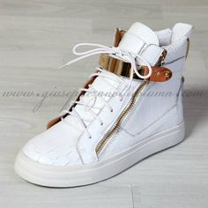 Giuseppe Zanotti Mens High Top Croc Embossed Buckle Sneakers In White 79f150114