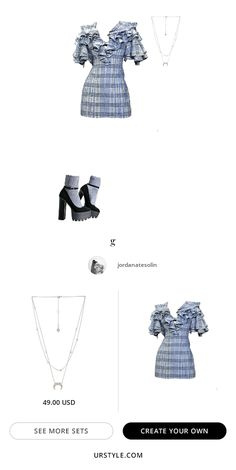 A fashion look created by jordanatesolin featuring Crescent & Constellation Layered Necklace, ACLER CULLEN MINI DRESS, . Browse and shop related looks. Kpop Fashion Outfits, Stage Outfits, Mode Outfits, Cute Casual Outfits, Star Fashion, Stylish Outfits, Fashion Dresses, Korea Dress, Preppy Style