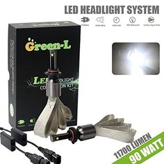 Green-L LED Headlight bulbs 9005 HB3 H10 4th Gen 90W 11700lm CREE XHP-50 6000k White Plug & Play Conversion Kit 2 Yr Warranty (Pack of 2) -- Awesome products selected by Anna Churchill