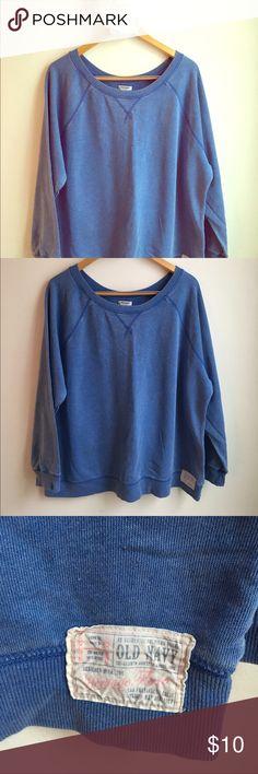 Old Navy Blue Distressed Sweatshirt Old Navy Blue distressed light weight sweat shirt. Very comfortable Old Navy Tops Sweatshirts & Hoodies
