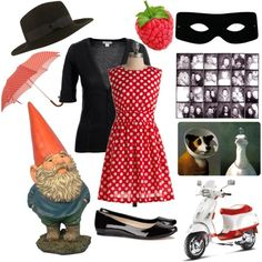 Amelie by papersparrow on Polyvore featuring Emily and Fin, Monsoon, By Larin, Barneys New York, Masquerade, french, vespa, costume, movie and gnome