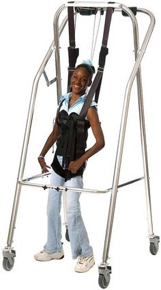 The Kaye Suspension Walkers support clients either in partial weight-bearing or in a fully weighted position to facilitate reciprocal movements for walking. Handicap Equipment, Adaptive Equipment, Handicap Accessible Home, Wheelchair Accessories, Mobility Aids, Disabled People, Cerebral Palsy, Brain Injury, Special Needs Kids