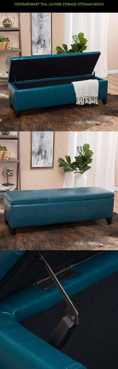 Contemporary Teal Leather Storage Ottoman Bench #kit #parts #drone #racing #plans #storage #gadgets #camera #technology #shopping #tech #bench #products #ottoman #fpv