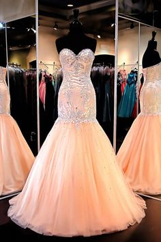 Mermaid Sweetheart Tulle Prom Dresses Enening Gowns With Beading