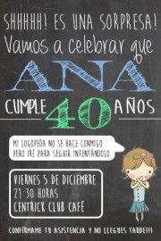 Invitación y photocall 40 cumpleaños | Besos, flores y vermut