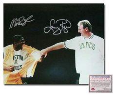 MAGIC JOHNSON AND LARRY BIRD LOS ANGELES LAKERS BOSTON CELTICS NBA DUAL HAND SIG
