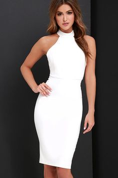 Liven up your wardrobe with the Brought to Life Ivory Bodycon Midi Dress! Medium-weight stretch knit shapes a high-neck, princess-seamed bodice with wide arm openings and hidden back zipper. A sleek bodycon midi skirt completes the sophisticated silhouette.