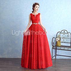 Floor-length Lace Bridesmaid Dress Sheath / Column Notched with Sash / Ribbon - USD $49.99