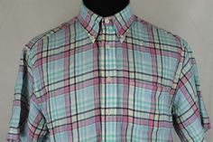 Brooks Brothers Mens Pink Plaid Short Sleeve Button Front 100% Linen Shirt sz L #BrooksBrothers #ButtonFront