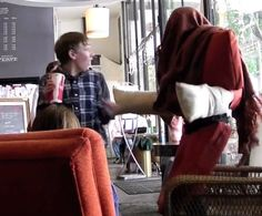 "I would have screamed! Click to watch the ""human chair"" prank."